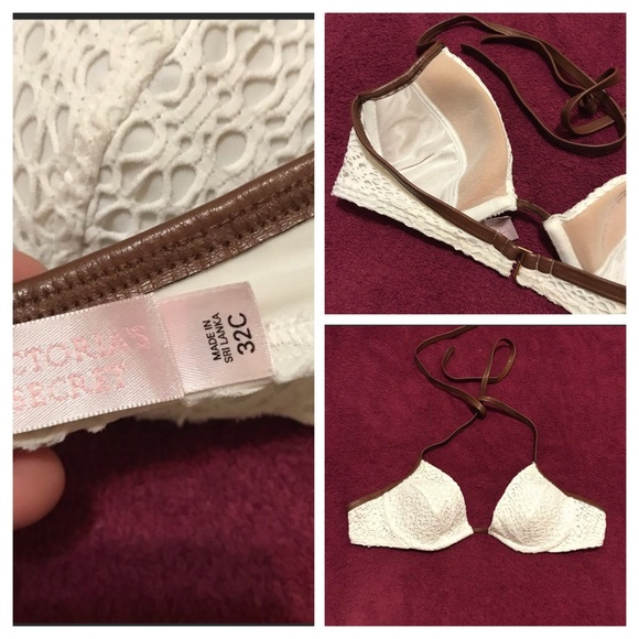 Victoria's Secret Other - EUC V.S Embroidery Trim Faux Leather Bikini Top